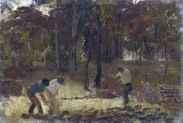 Tom Roberts, De grond draaien (schets voor de houtskoolbranders) - 1886 van Atelier Liesjes