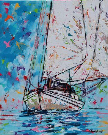 Zeilboot van Vrolijk Schilderij