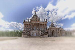zicht op een romantisch kasteel uit de middeleeuwen