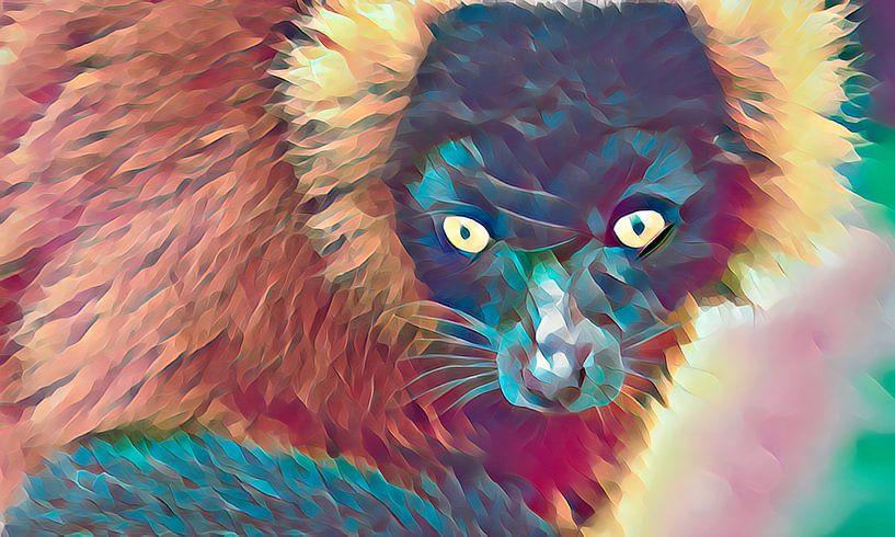 Lemuur, Halfaap, colorful look van Rietje Bulthuis