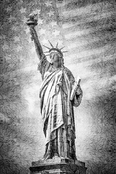 NEW YORK CITY vrijheidsbeeld met vlag | zilver van Melanie Viola