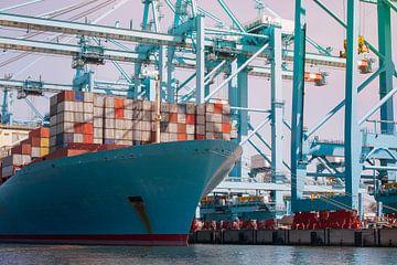 Déchargement d'un porte-conteneurs dans le port de Rotterdam sur Elles Rijsdijk