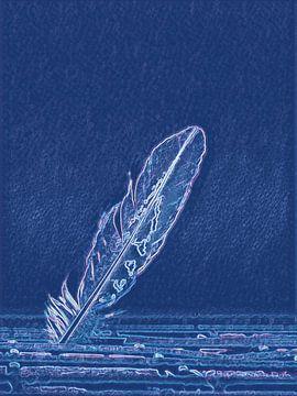 Blauwe veer van Greta Lipman