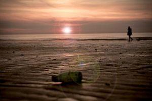 Zonsondergang strand Westende Belgie van