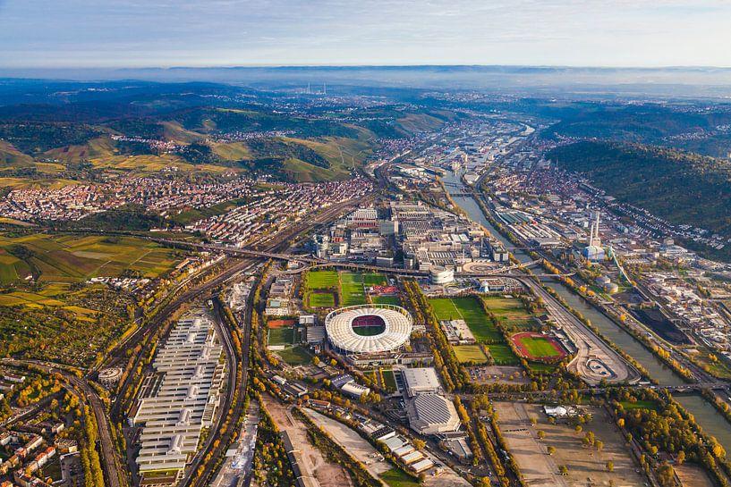 Aerial photography of Neckarpark district in Stuttgart van Werner Dieterich