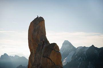 2 Bergsteiger bei Aiguille du Midi von Febe Waasdorp