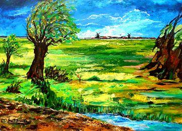 Landschaft in Ostfriesland van Eberhard Schmidt-Dranske