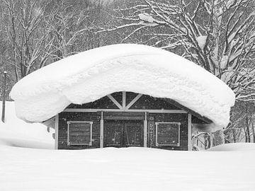 Haus mit Schnee in Japan von Menno Boermans