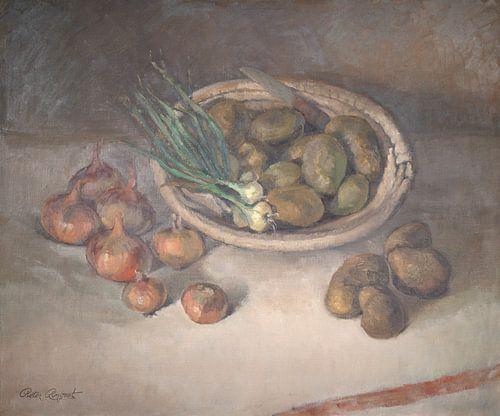 Stilleven met uien en aardappels
