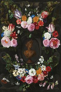 Festoen van bloemen om een buste van Flora - Jan Philip van Thielen