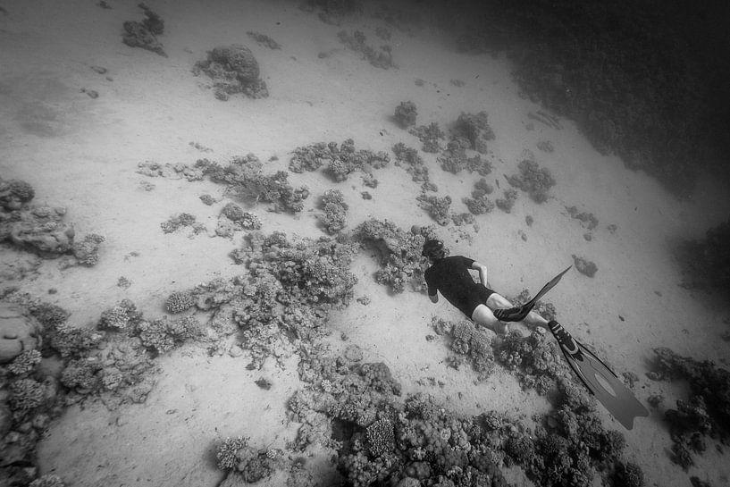 Freediver vliegt onderwater van Eric van Riet Paap