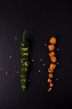 twee gekleurde pepers 2 van 3