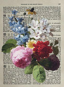Antiek bloemboeket geschilderd op een oud woordenboek van Roger VDB