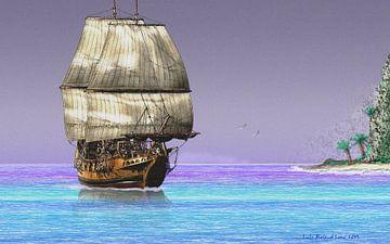 Segelschiff vor einer tropischen Insel von Lutz Roland Lehn