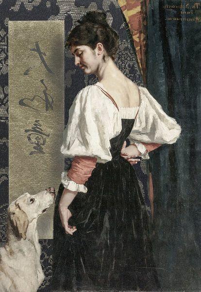 Vrouw met hond (laat 19e eeuw) van Affect Fotografie