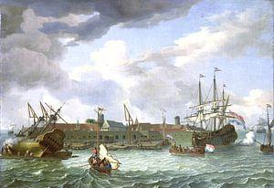 Het eiland Onrust bij Batavia, Abraham Storck