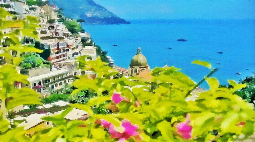 Côte d'Amalfi - Vue sur la mer à Positano - Peinture sur Schildersatelier van der Ven