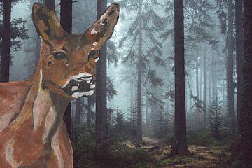 Ree in Acrylfarben mit Hintergrund nebligen Wald von De Verbeelding