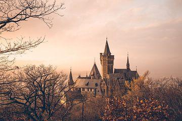 Schloss Wernigerode Sonnenuntergang und Nebel