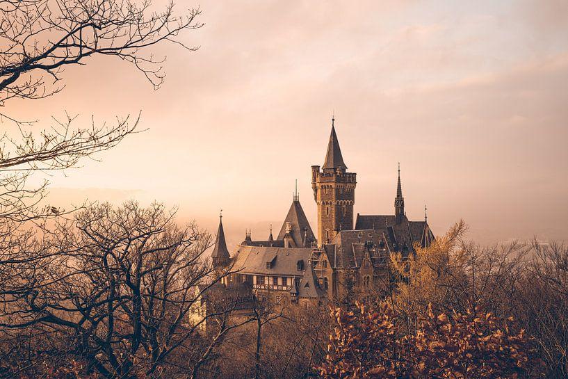 Schloss Wernigerode Sonnenuntergang und Nebel von Oliver Henze