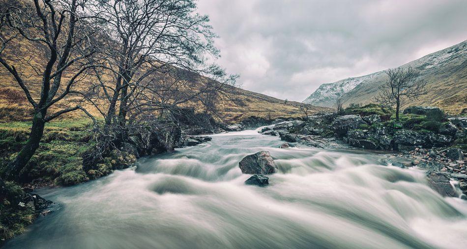 De Rivier Glenn Etive in Schotland
