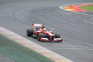 Ferrari F1 F2013 op circuit Spa Francorchamps van