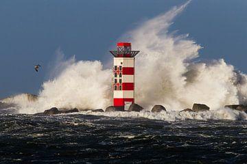 Kracht van de Noordzee tegen de vuurtoren von Menno van Duijn