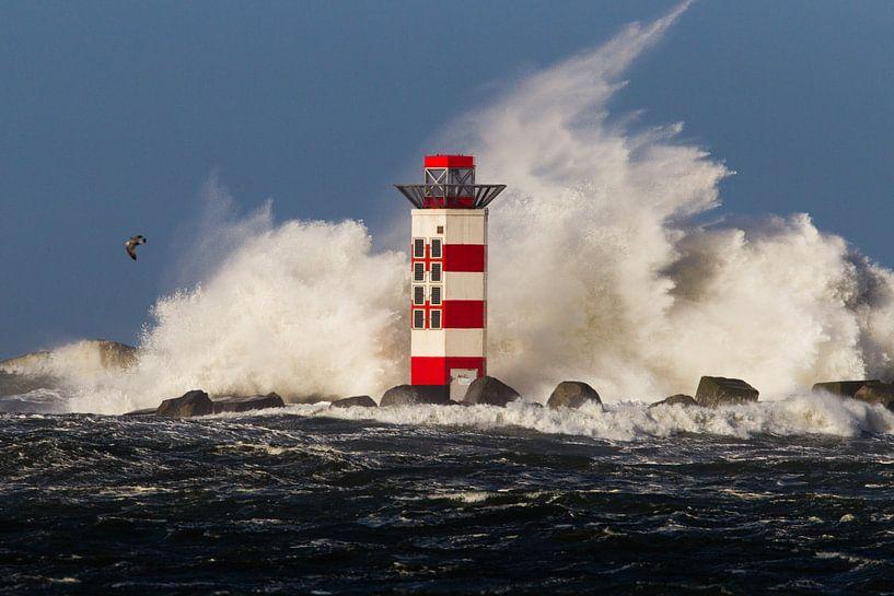 Kracht van de Noordzee tegen de vuurtoren van Menno van Duijn