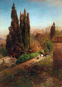 Oswald Achenbach.Blick auf einen Garten in der Nähe von Rom