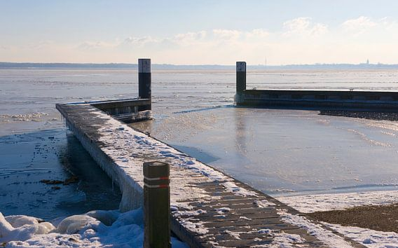 Frozen water at the dock