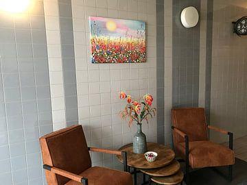 Klantfoto: Schilderij bloemenveld / bloemen van Bianca ter Riet