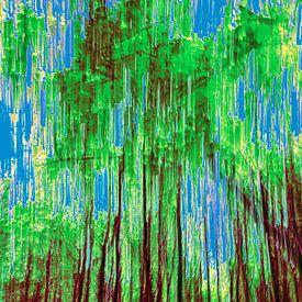 bos en een strak blauwe hemel van Dick Jeukens
