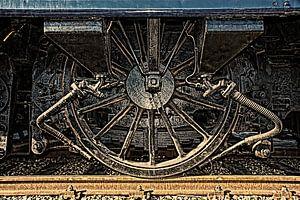 Wiel van antiek treinstel in HDR