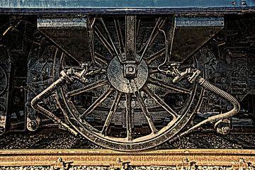 Wiel van antiek treinstel in HDR van