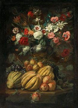 Blumen in einer Vase und Früchte auf einem Tisch, Abraham Brueghel