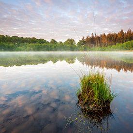 Un étang avec un brouillard et un beau ciel de nuages. sur Ron ter Burg