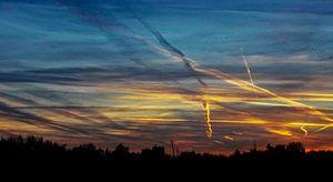 Zonondergang ergens in Friesland van