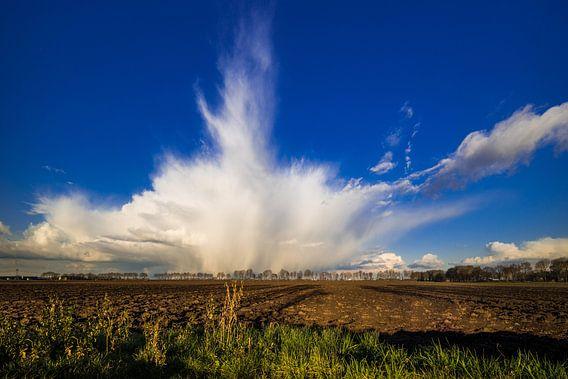 Regenbui boven de polder van Thomas van der Willik
