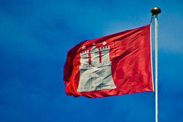 Vlag, stadswapen, Hamburg van