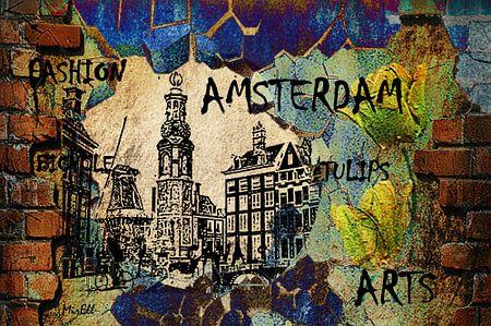 Amsterdam Holland, Münzenturm, Kanalhäuser, digitale Kunst