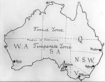 GEZEICHNETE KARTE AUSTRALIEN von Jaap Ros