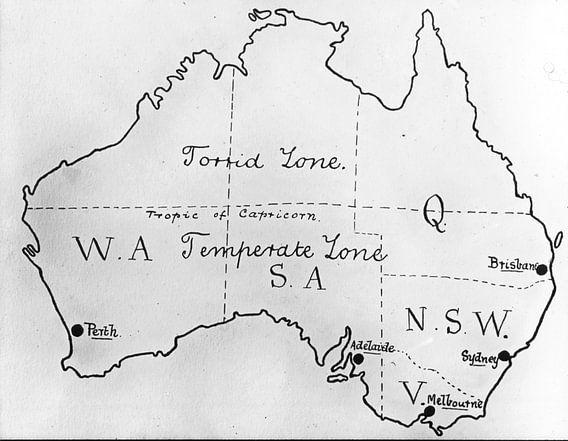 GETEKENDE KAART AUSTRALIE van Jaap Ros
