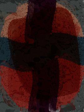 Abstract organische vormen in rood en blauw tinten van Maurice Dawson