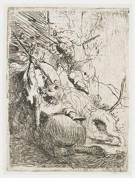 La petite chasse au lion : avec un lion, Rembrandt van Rijn
