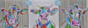 Oostenrijkse koe  trio met koeienbel. van Kunstenares Mir Mirthe Kolkman van der Klip