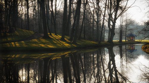 Reflecties en prieel op landgoed Elswout van