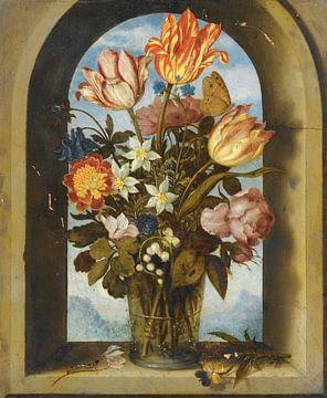 Ein Stillleben aus Tulpen, Moosrosen, Maiglöckchen und anderen Blumen, Ambrosius Bosschaert.