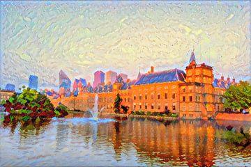 Impressionistischer Binnenhof Den Haag von Slimme Kunst.nl