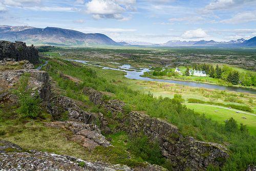 Uitzicht over Thingvellir, IJsland van Joep de Groot
