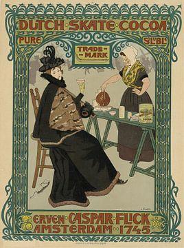 Holländischer Schlittschuhkakao. Erven Caspar Flick, Johann Georg van Caspel von Vintage Afbeeldingen